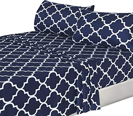 Amazon Com Utopia Bedding 4pc Bed Sheet Set 1 Flat Sheet 1 Fitted Sheet And 2 Pillow Cases Queen Navy Home Kitchen