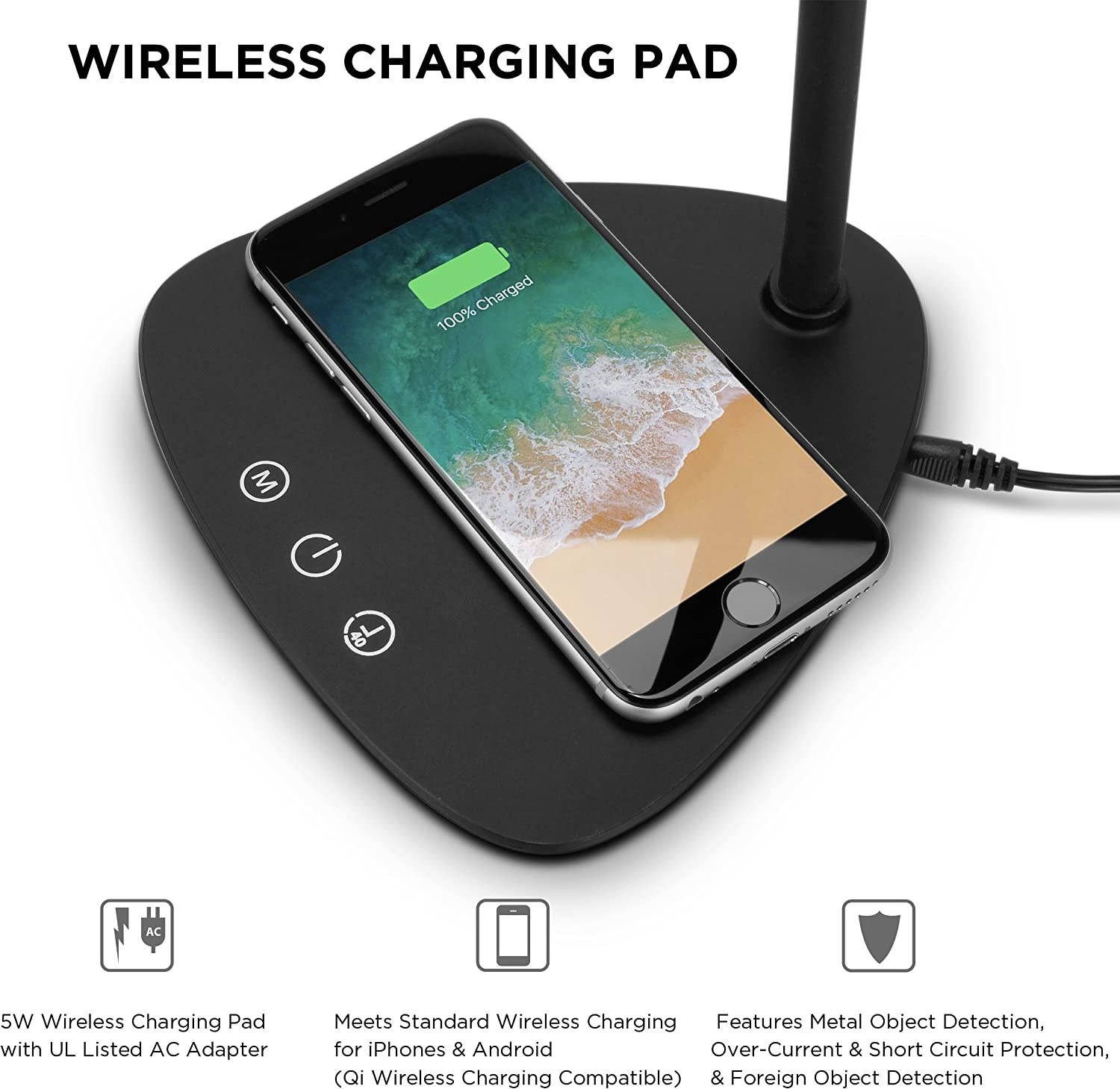 Touch Controls Brightness Slider Charger Compatible with All Qi-Enabled Devices 40 Minute Auto Off Timer REVIVE LED Dimmable Desk Lamp with Wireless Charging Pad 3 Color Temperatures