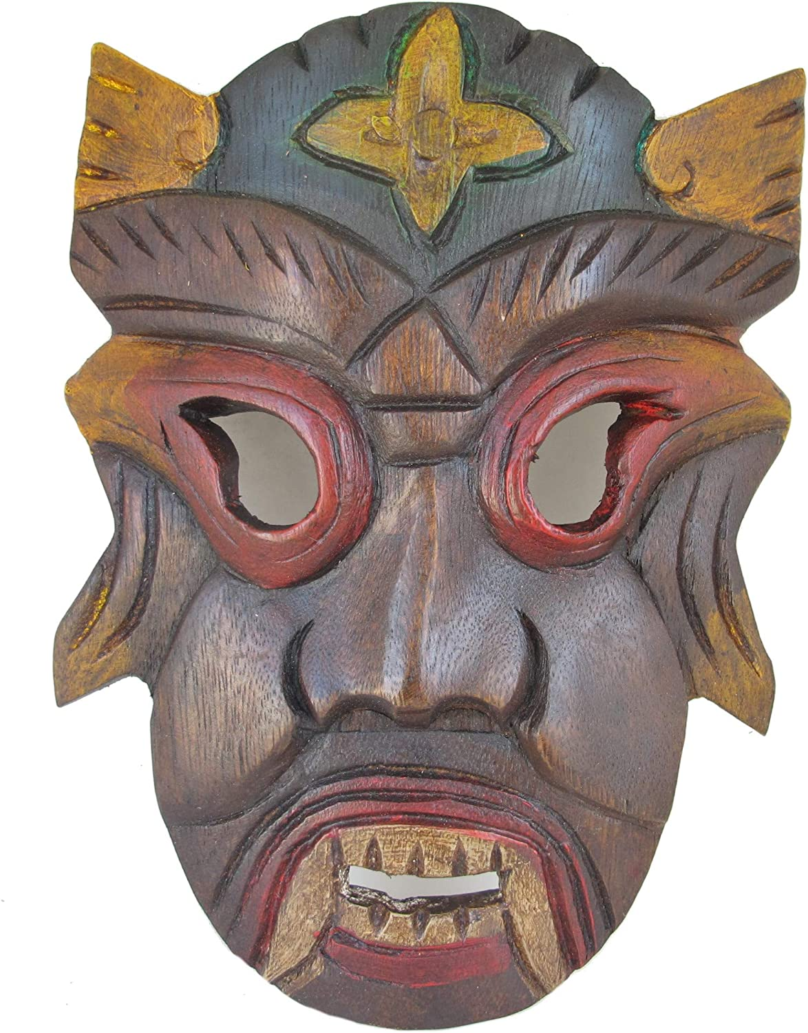 Wood Tribal Mask Sculpture - African Style Tiki Mask Wall Art Decor - Hand Carved Bar Man Cave Accent