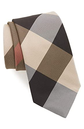 6ed351d3d968 Image Unavailable. Image not available for. Color: Burberry London Clinton  Camel Check Italian Silk Tie