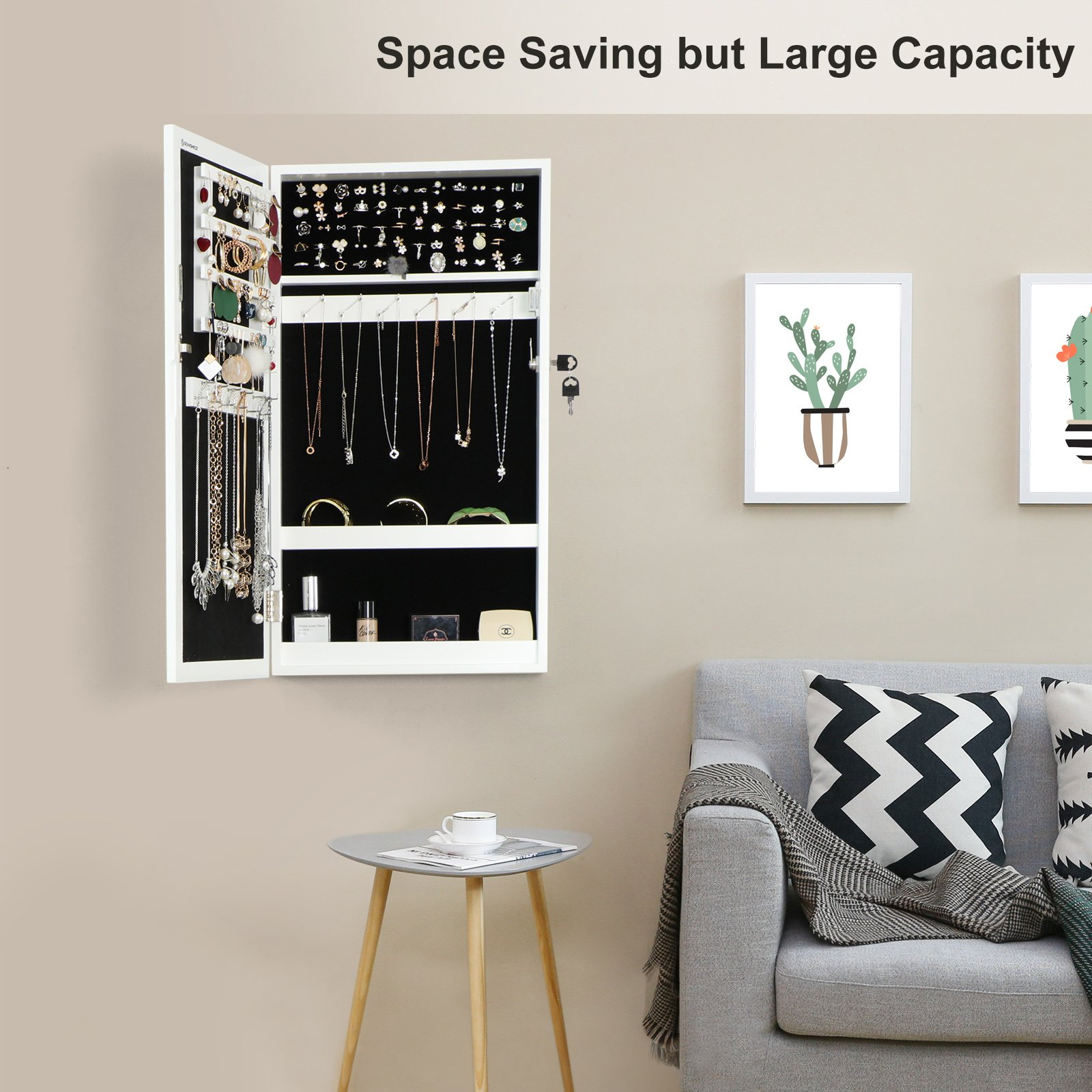 SONGMICS Lockable Jewelry Cabinet Armoire with Mirror, Wall-Mounted Space Saving Jewelry Storage Organizer White UJJC51WT by SONGMICS (Image #2)