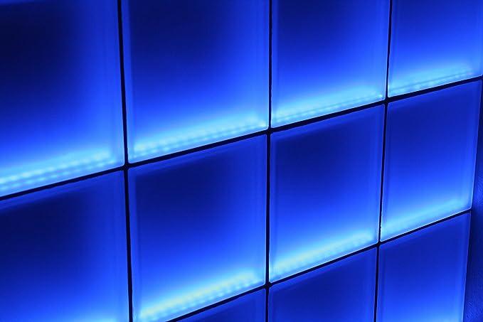Fuchs Design - Mampara de bloques de vidrio claro con iluminación ...