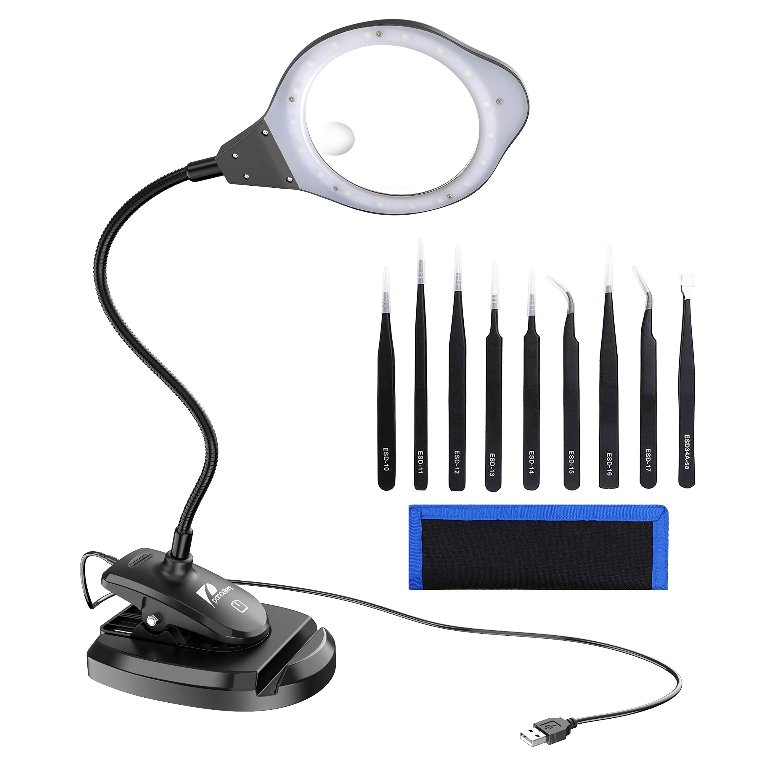 Pancellent 2-in-1 Magnifying Glass LED Lamp with Precision Tweezers Set (9 Pcs), 2X/4X Lighted Magnifier with Stand and Clamp for Desk, Sewing, Table by Pancellent