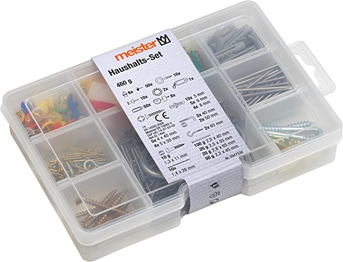 Meister Haushalts-Sortiment 183-teilig - Vorsortiert in praktischer Kunststoffbox Universell einsetzbar // Sortimentskasten // Sortimentsbox // 947530 Pinnwandnadeln /& Co Schrauben 200 g Haken