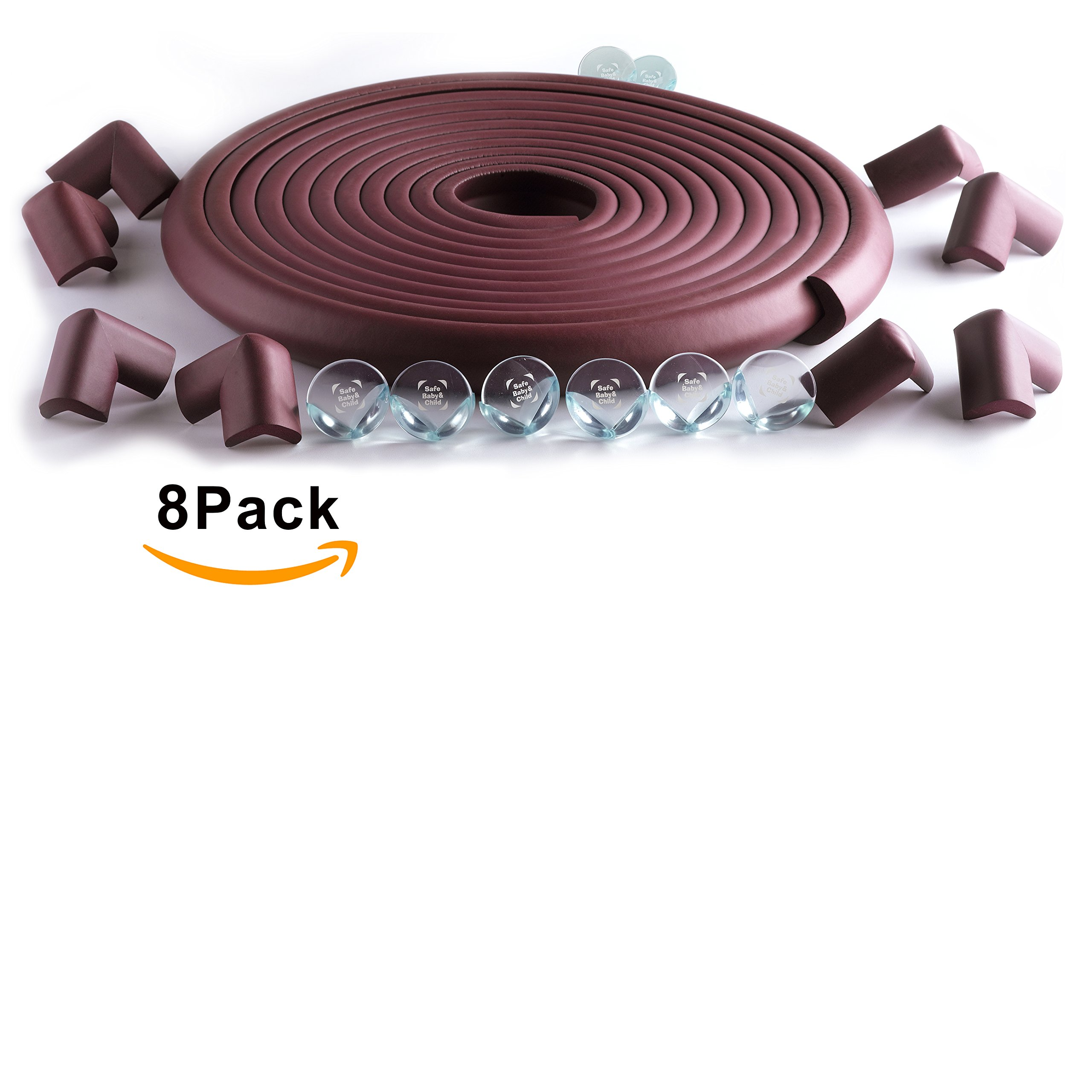 SafeBaby & Child Safety 23.2ft Long Set -16 Corner Guards Baby proofing Edge with Clear Protective Bumpers for Furniture. Cushion Foam Strip Brick pad childproof Fireplace Guard for Toddlers. Brown
