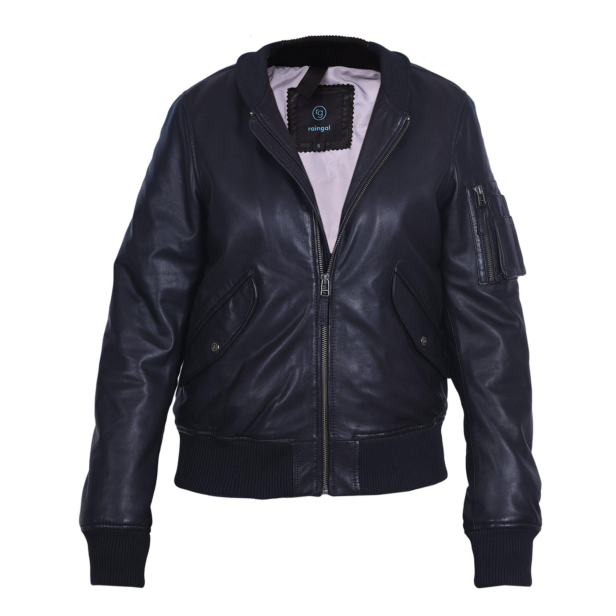 Bomber Jacket Women, 100% Lambskin Black Leather Jacket, Soft Luxury Feel, Relaxed Fit Womens Leather Jacket by raingal (Black)-Large