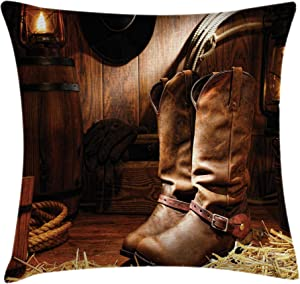Ambesonne Western Throw Pillow Cushion Cover, Wild West Theme Boots in Wooden Room Classical Folkloric Old Fashioned Wild Sports Theme, Decorative Square Accent Pillow Case, 16