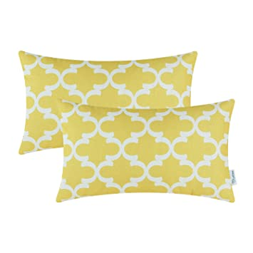 Outstanding Calitime Pack Of 2 Soft Canvas Bolster Pillow Covers Cases For Couch Sofa Home Decor Modern Quatrefoil Accent Geometric 12 X 20 Inches Bright Yellow Theyellowbook Wood Chair Design Ideas Theyellowbookinfo