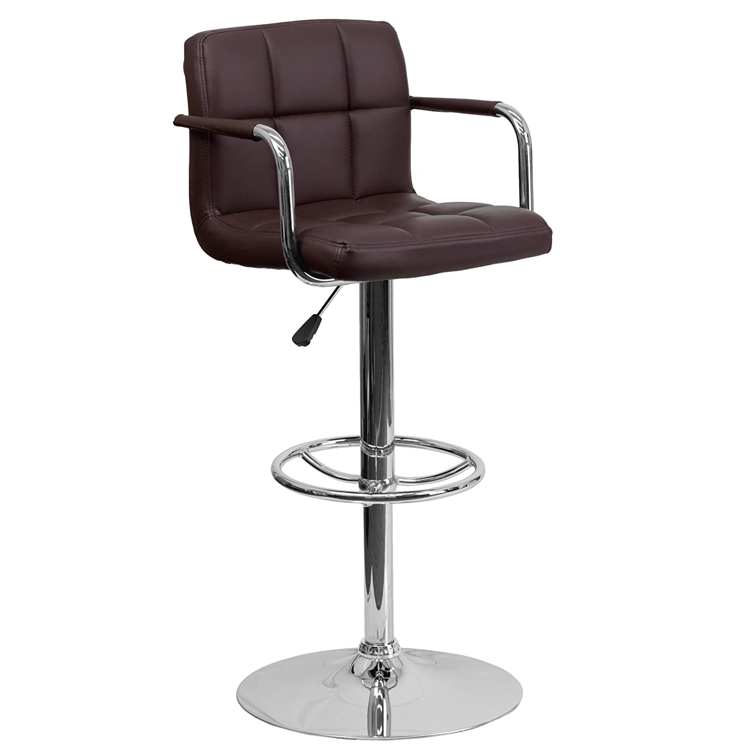 Brown 1 Pack Flash Furniture 2 Pk. Contemporary Red Quilted Vinyl Adjustable Height Barstool with Arms and Chrome Base