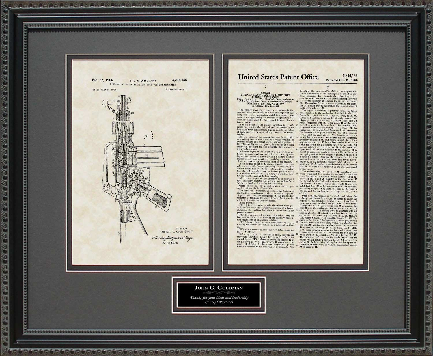Amazoncom M16 Rifle Patent Art Wall Hanging Military Army Framed