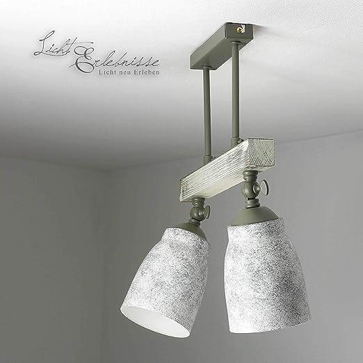 Deckenleuchte Glas Schirm Weiß Holz Hell 3x E27 Küchenlampe Modern Deckenlampe