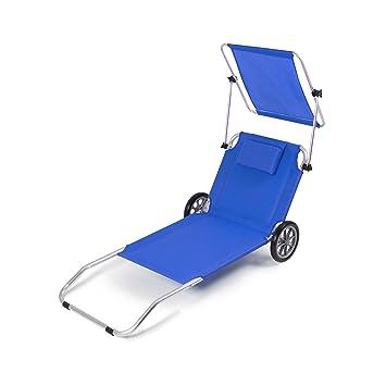 Vanage Gartenliege Sunny Blau Mit Sonnendach U0026 Rollen   Liegestuhl Klappbar    Strandliege Aus Aluminium Mit