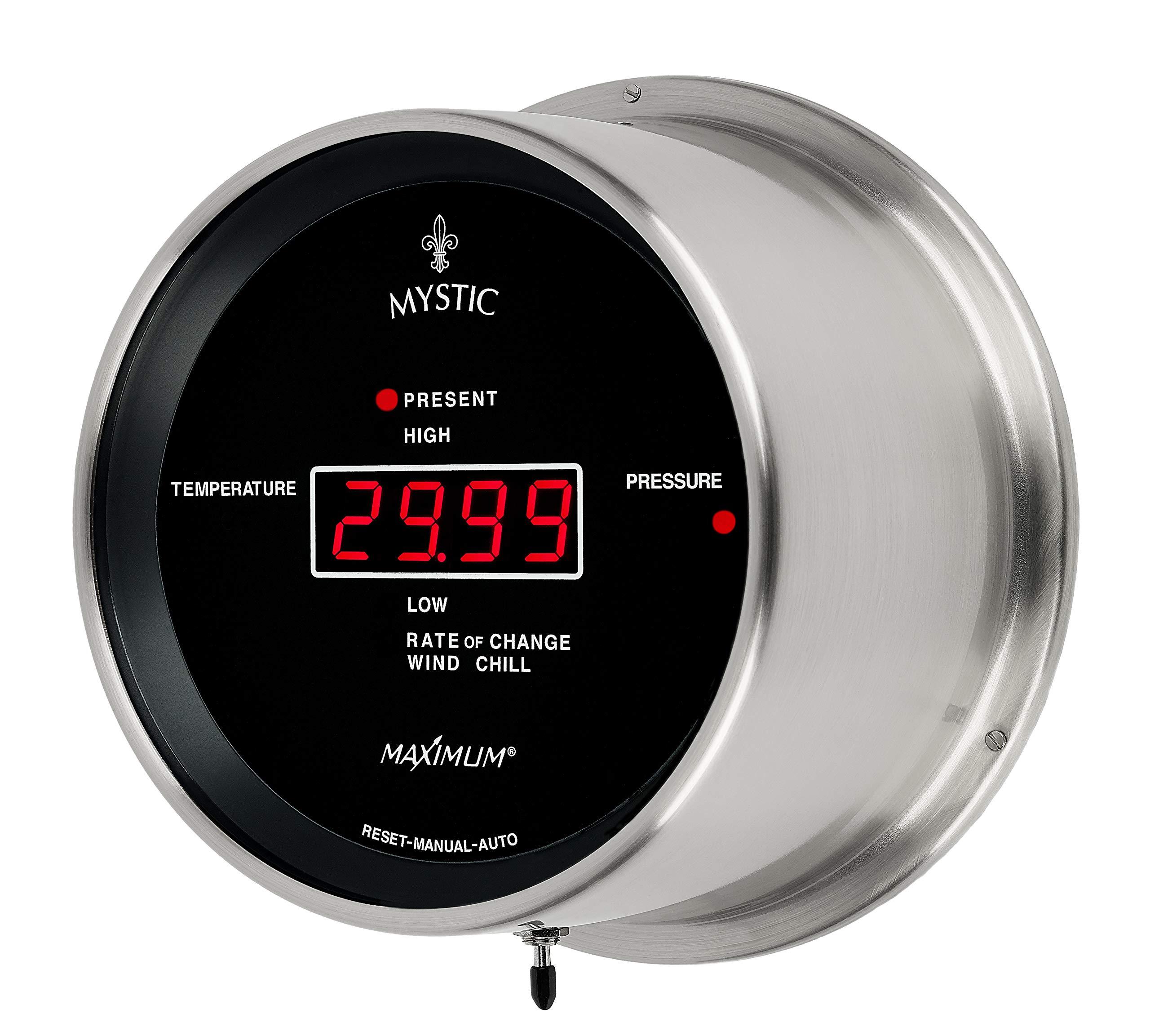 Maximum Weather Instruments Mystic Digital Thermometer/Barometer – Nickel case, Black dial