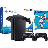 PS4 Slim 1TB zwart Playstation 4 - FIFA 19 2 Dualshock Controller 4