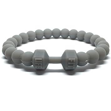 Designs silicona Fitness de pulsera con pesas, Motivación Fit Life - Line, gris, large: Amazon.es: Deportes y aire libre