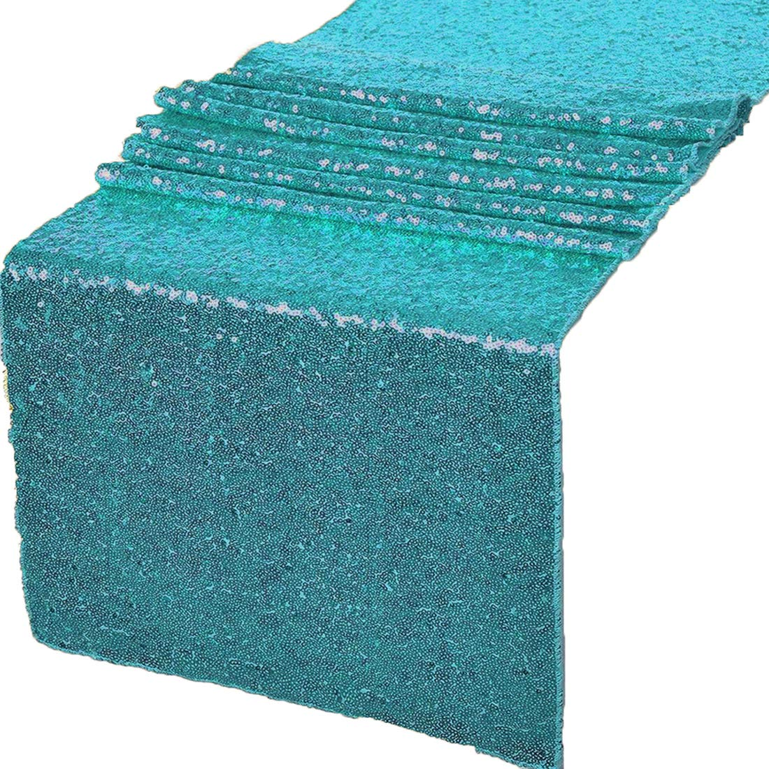 GWHome 12 X 72 inches Sequin Table Runner for Wedding Party Banquet Rectangular and Round Table (Turquoise)