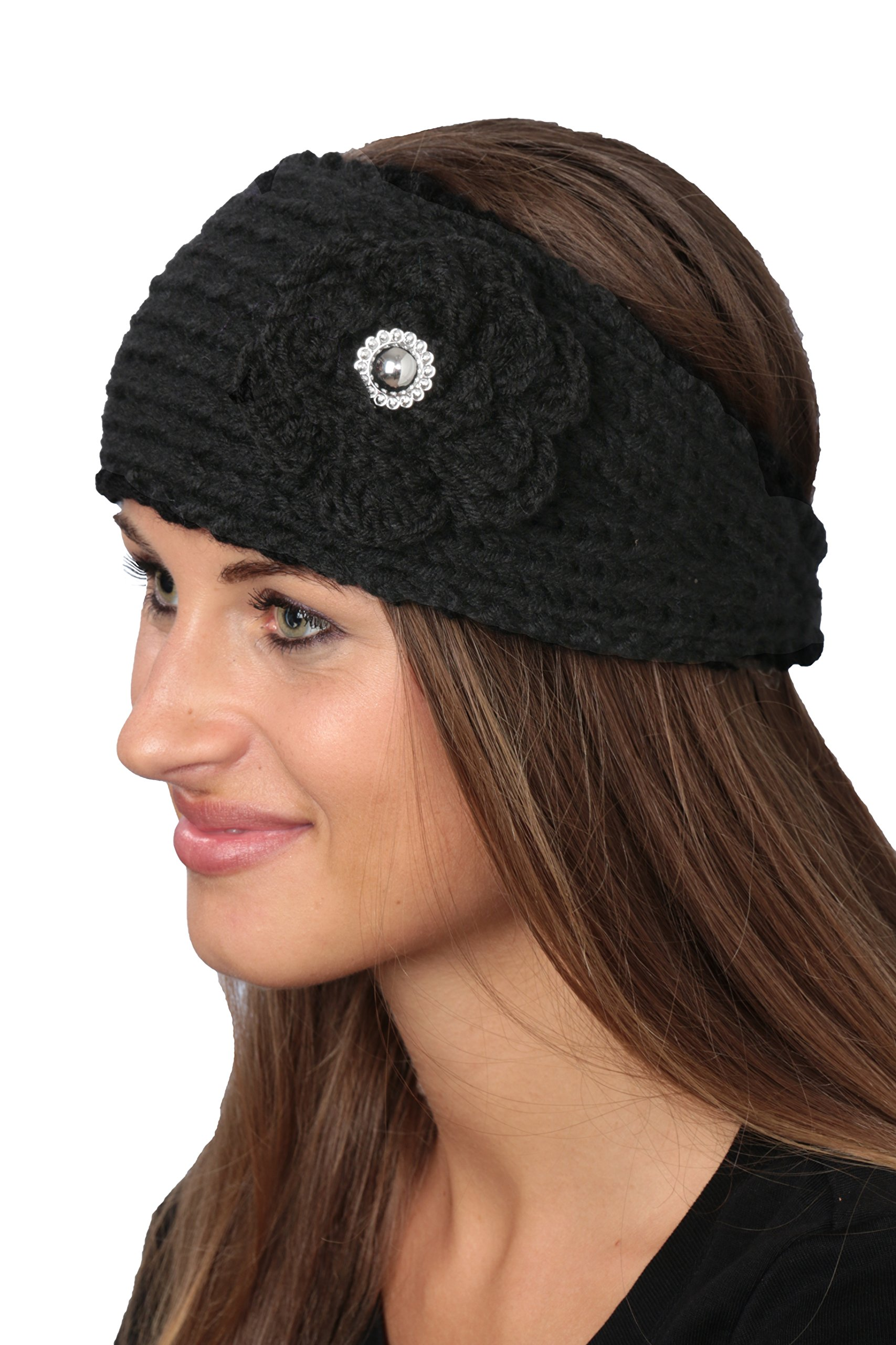 Active Club Winter Fashion Headbands-assorted Styles 2 Pack (Black & Teal)