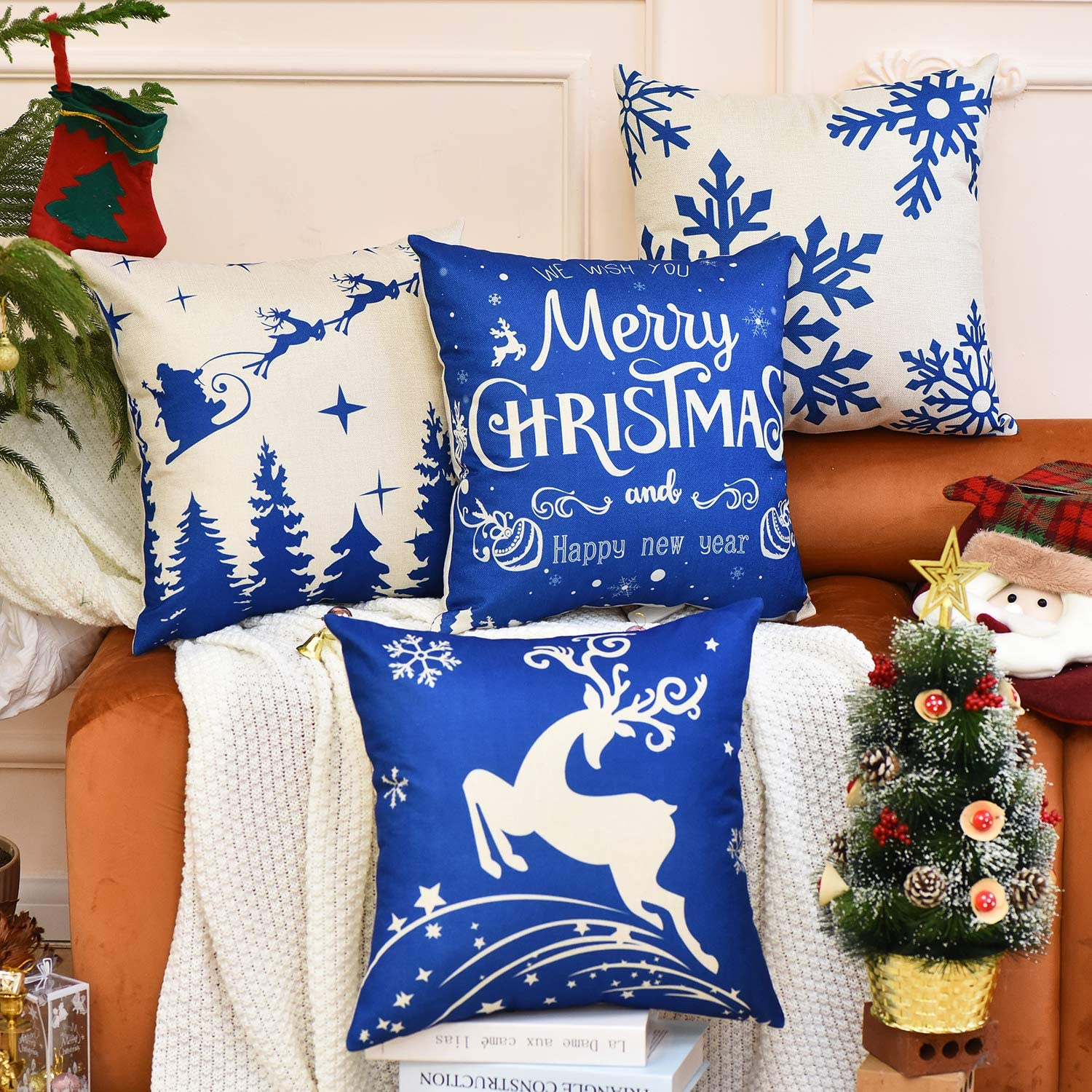 Blue and White with Holiday Greetings