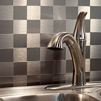 Aspect Peel and Stick Backsplash 12inx4in Square Stainless Matted Metal Tile  approx 15 Sq Ft Kit