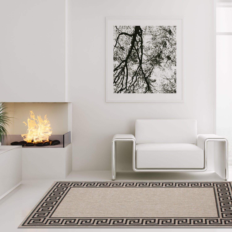 Carpet city Teppich Modern Designer Wohnzimmer Villa Sisal Mäander Grau Schwarz 200x290 cm
