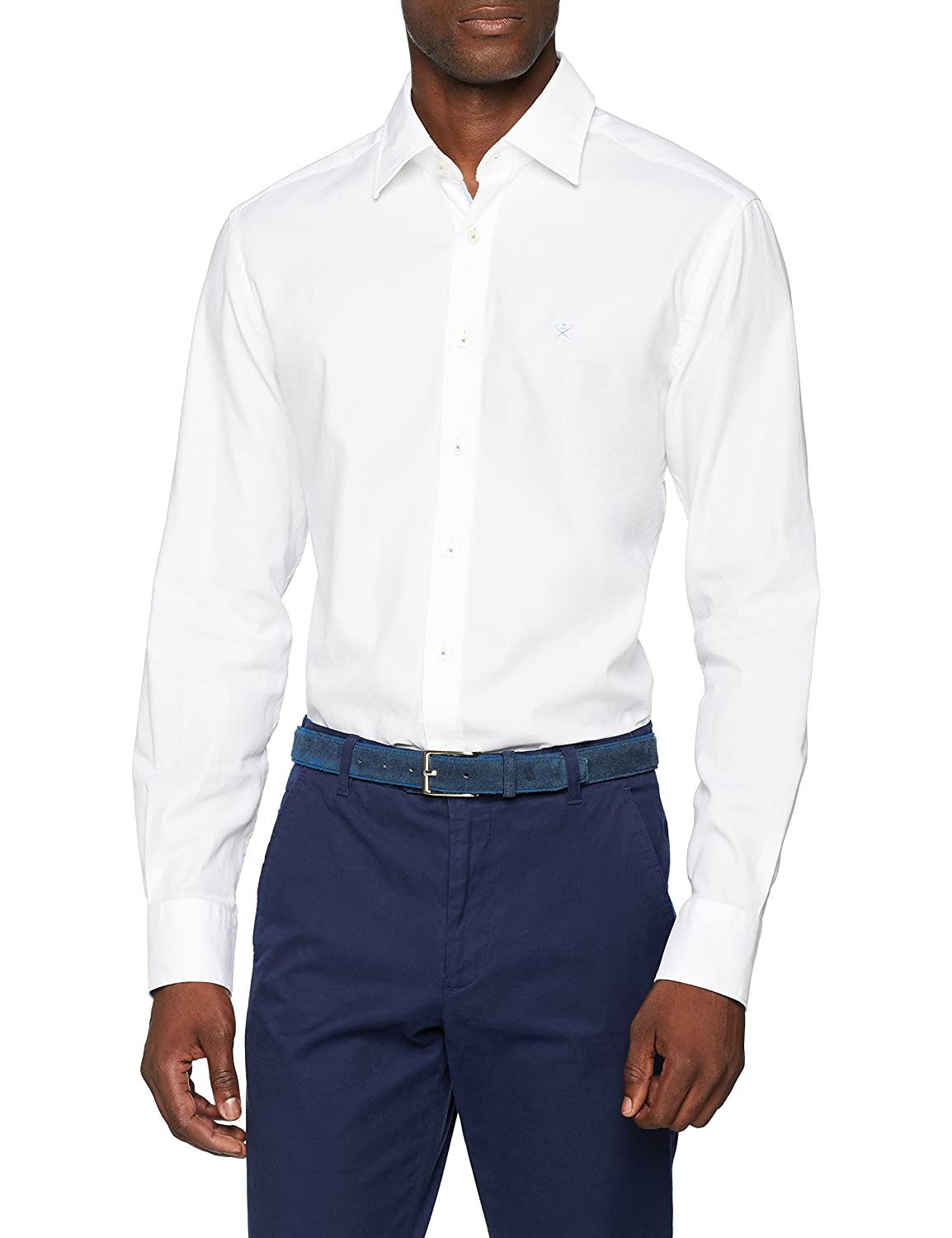 Hackett London Wht Texture Multi Trim Camisa para Hombre