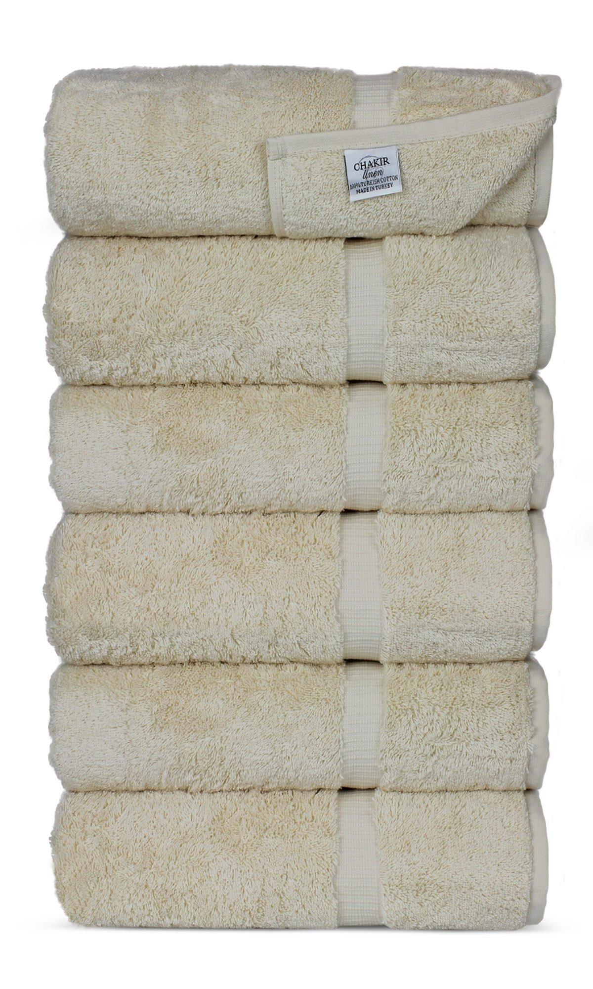 Luxury Premium long-stable Hotel & Spa Turkish Cotton 6-Piece Eco-Friendly Hand Towel Set (Beige)