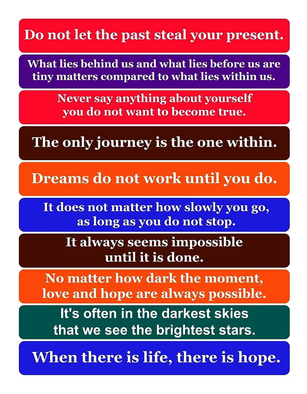 Multi-Pack of 10 Inspiring Positive Fridge Magnet Quotes