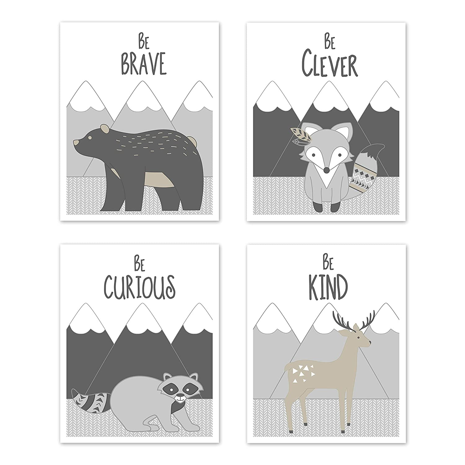 Sweet Jojo Designs Beige Grey White Boho Mountain Forest Animal Deer Fox Bear Wall Art Prints Room Decor for Baby Nursery Kids for Gray Woodland Friends Collection-Set of 4-Brave Clever Curious Kind
