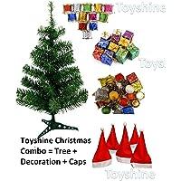 Toyshine Christmas Tree Celebration Combo | 3 Ft Tree + 48 Pcs Decoration + 10 Christmas Caps Free Size