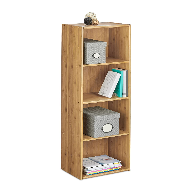 Relaxdays Etagère de rangement bambou bibliothèque bureau salon salle de bain 4 niveaux HxlxP: 106 x 41 -5 x29 -5 cm