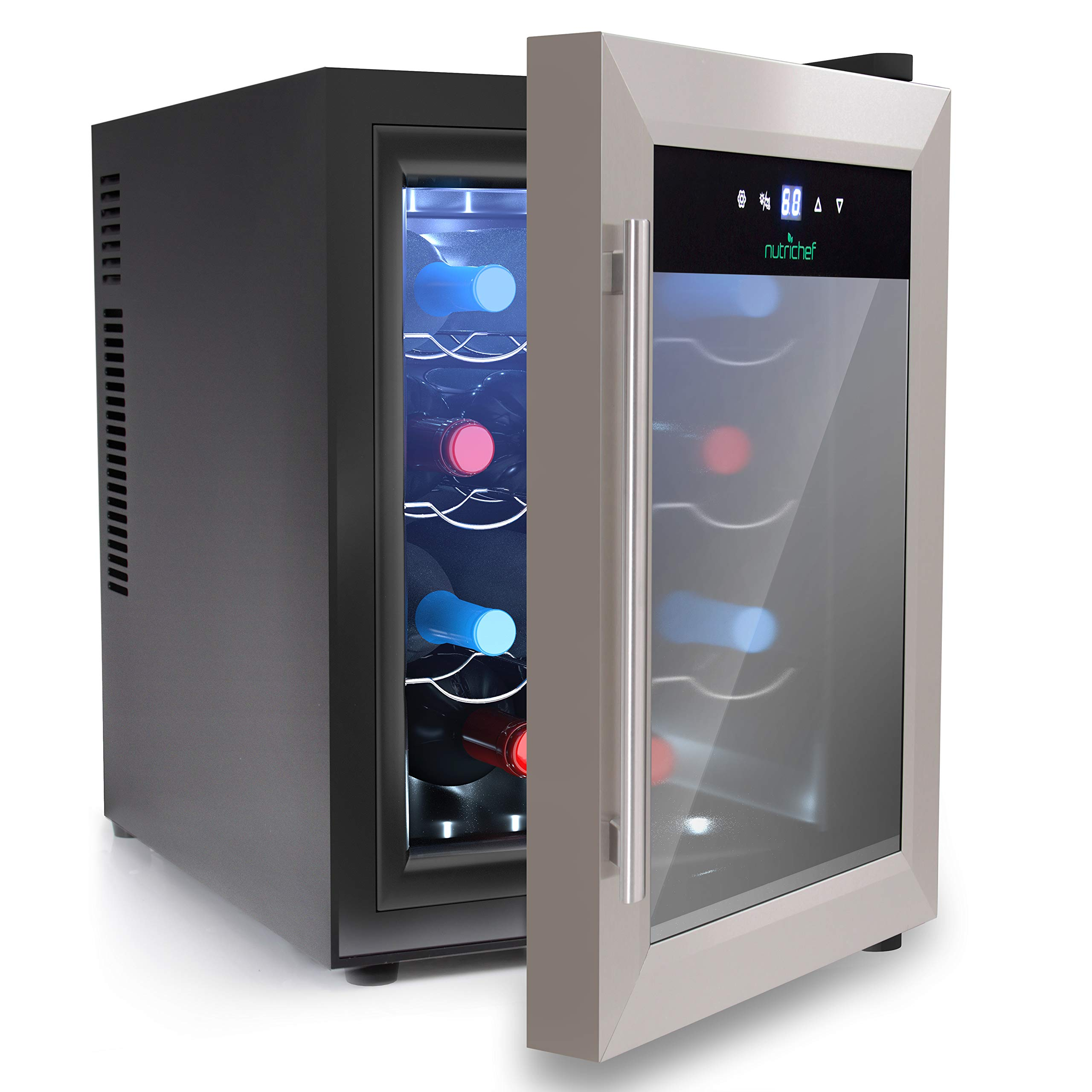 NutriChef 12 Bottle Thermoelectric Wine Cooler / Chiller | Counter Top Red And White Wine Cellar | FreeStanding Refrigerator, Quiet Operation Fridge | Stainless Steel - PKTEWC125 by Nutrichef