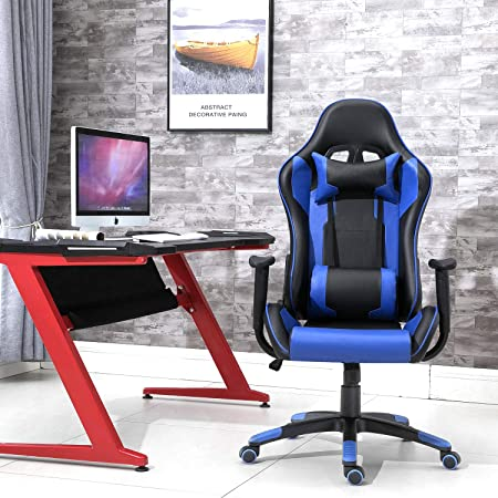 Samincom Gaming Chair Racing Style High Back Large Size PU Leather Chair Office Chair Executive and Ergonomic Style Swivel Chair with Extra Soft Headrest Lumbar Cushion Black Blue