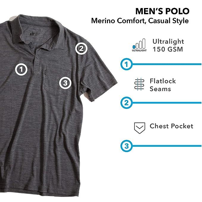 Woolly Clothing - Polo de Lana de Merino para Hombre, Ultraligero ...