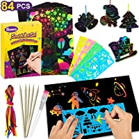 Nicmore Scratch Art Paper Set for Kids, 84 Pcs Rainbow Magic Scratch Off Papers DIY Arts and Crafts Supplies Kits for Boys & Girls Birthday Party Games Christmas Easter Craft Gifts