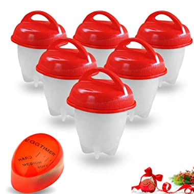 Egg Cooker - hard boiled egg maker without the Shell, Eggies AS SEEN ON TV ready for snack,6 Pack hard boiled egg maker with BONUS ITEM.