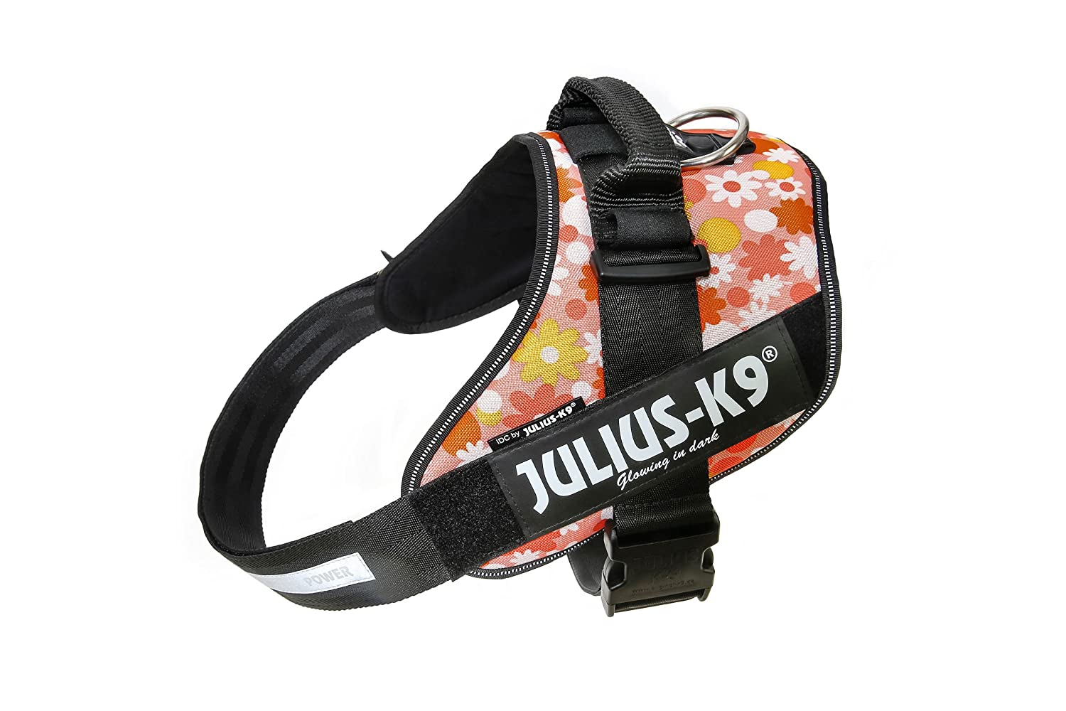 Julius-K9 IDC-Power Harness, Pink with Flowers, Size  3 82-115 cm 32.5-46.5