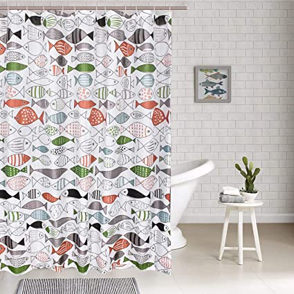 Smurfs Yingda Colorful Fish Shower Curtains 12 Hooks Included Art Print Bathroom Curtain