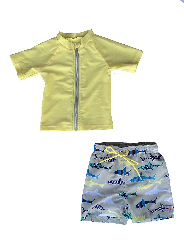 SwimZip Zipper Short Sleeve Rash Guard Swimsuit Set Shark Feast Yellow