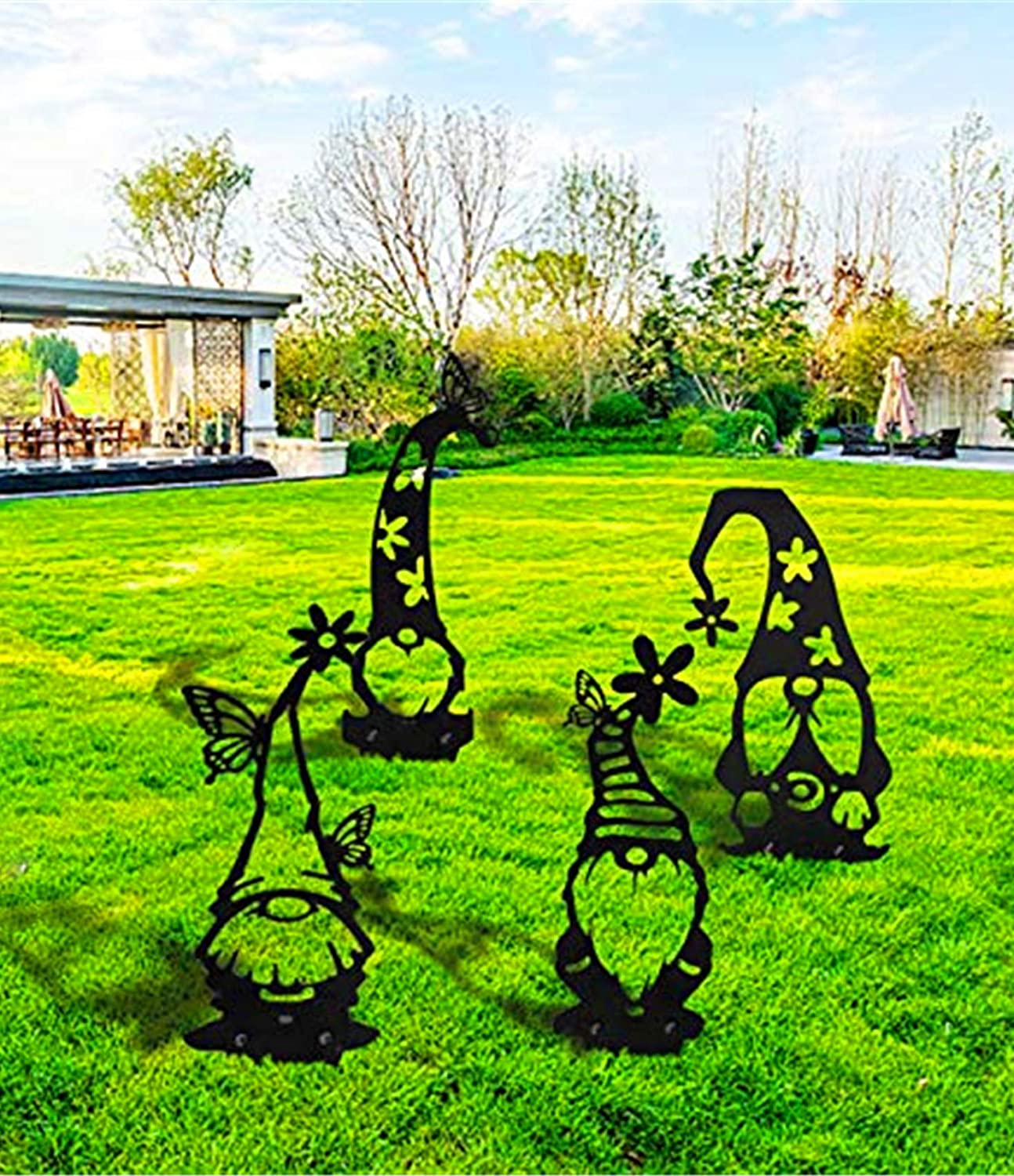 4PCS Easter Acrylic Branch Gnomes Decoration, Easter Decor, Cute Hollowed Out Garden Gnomes Silhouette Art Dwarf Decor Branch Ornaments for Home Garden Yard Patio Outdoor Decoration