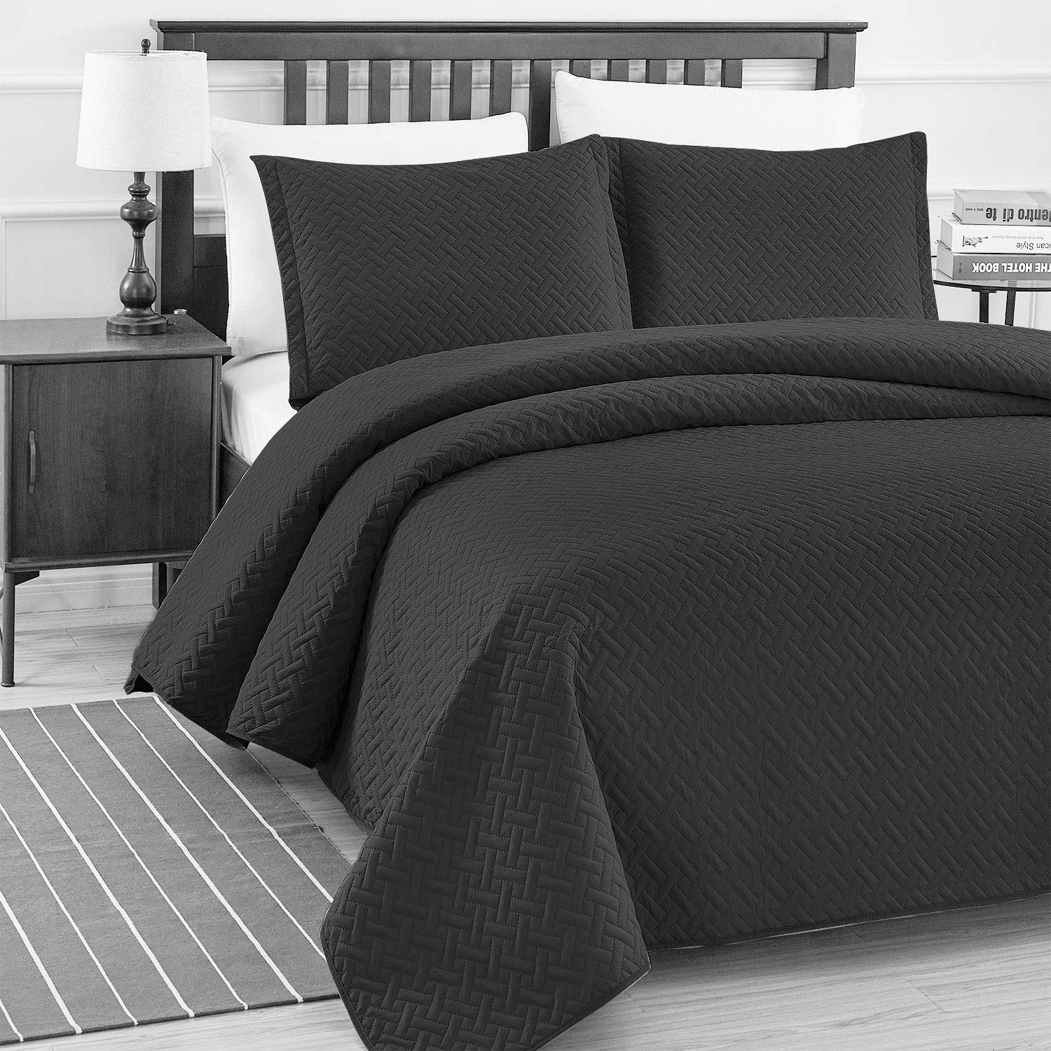 Basic Choice 3-piece Light weight Oversize Quilted Bedspread Coverlet Set - Black, Full/Queen