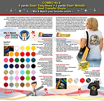 MIX /& MATCH YOUR FAVORITE COLORS 10 YARDS SISER METALLIC HEAT TRANSFER VINYL