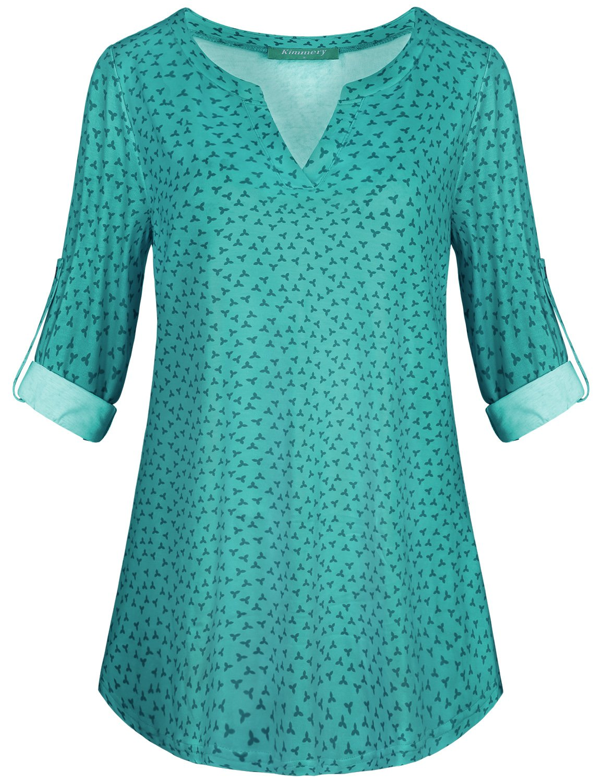 Kimmery Long Sleeve Shirt Women, Blouses Fashion 2018 Split V Neck Tunic Tops for Leggings Draped Hemline Loose Fit Knitwear Lightweight Casual Fancy Latest Soft Outweear Blue Flower Medium