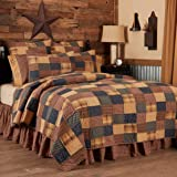 VHC Brands Primitive Bedding Antique Patch Cotton Pre-Washed Patchwork California King Quilt, Deep Red