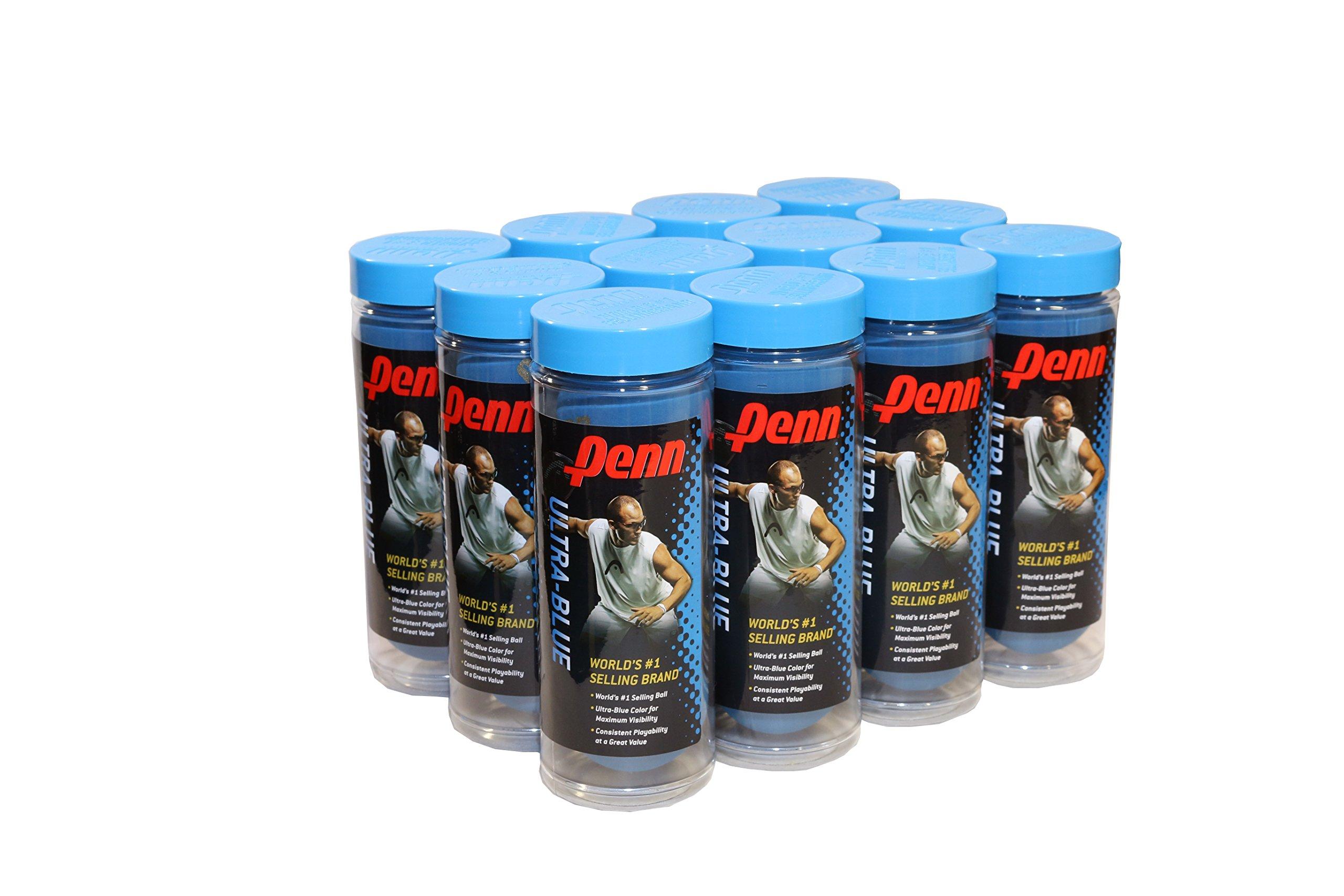 Penn Ultra Blue Racquetballs, 12 Can Case, 36 Balls