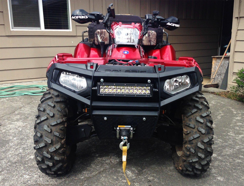 iJDMTOY 14 72W High Power LED Light Bar w// Universal Handlebar Front Grill or Hood Mounting Bracket For ATV UTV