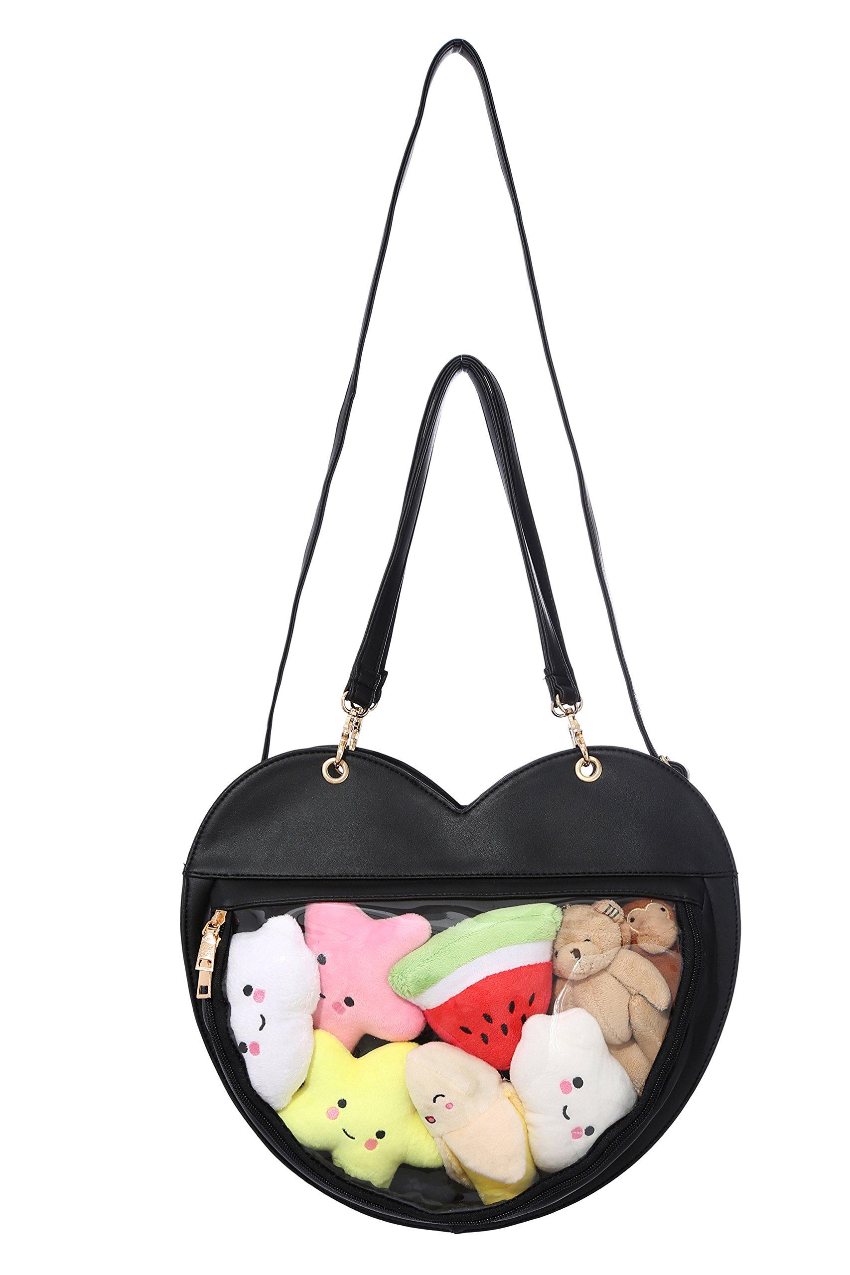Clear Candy Leather Handbag Kawaii Purse Transparent Backpacks Love Heart Shape Crossbody Bags Lolita Ita Bag