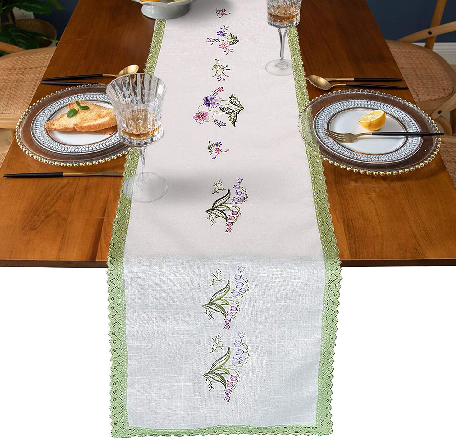 Table Runners 72 inches Long Spring Flower White Green Embroidered Decor Coffee Modern Farmhouse Table Runner for Living Dining Room Birthday Party Holiday Wedding 12x72In,1pc