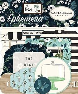Carta Bella Paper Company Home ephemera, green, blue, woodgrain, black, teal