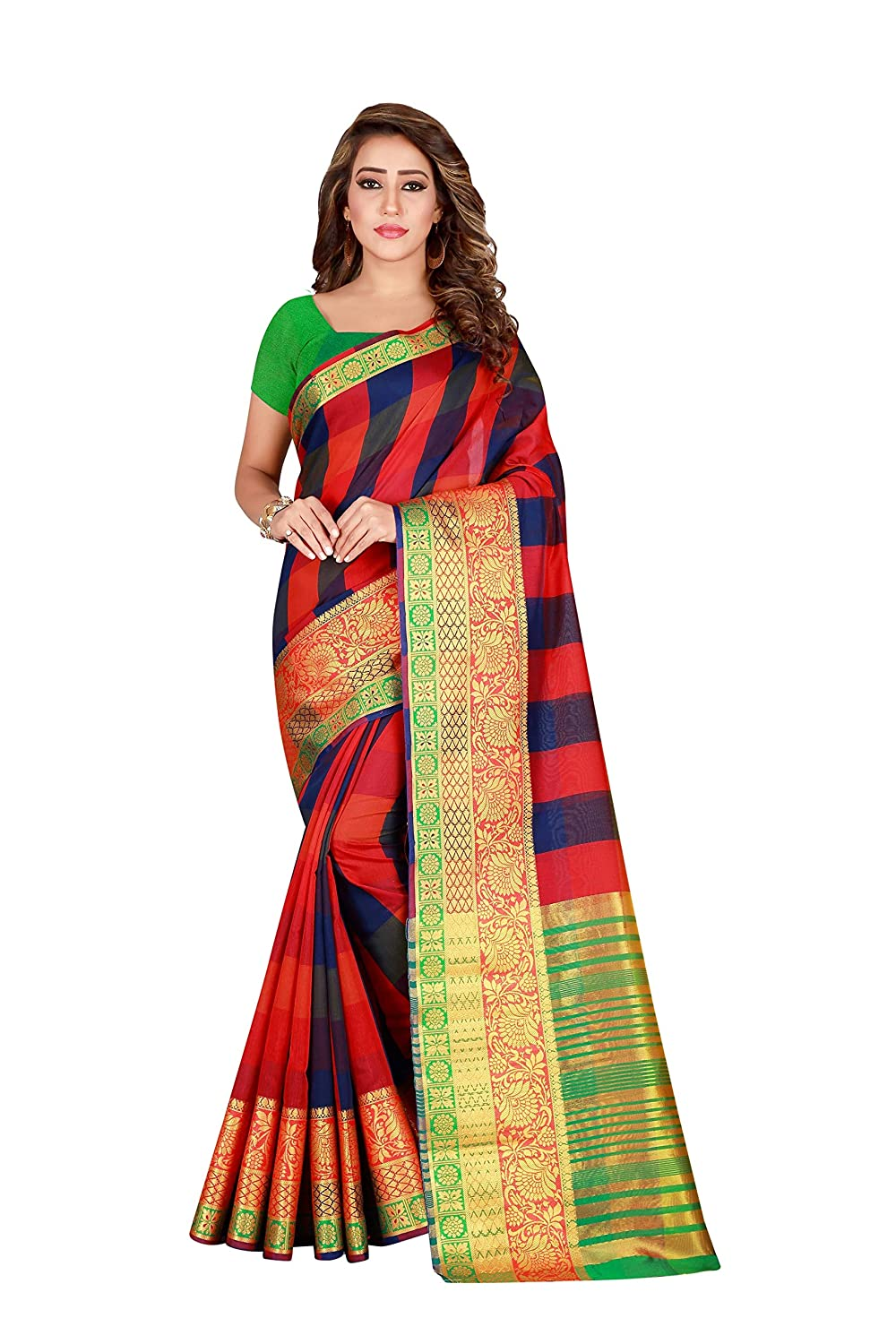 Florence Women's Red Pure Cotton Stripe Saree With