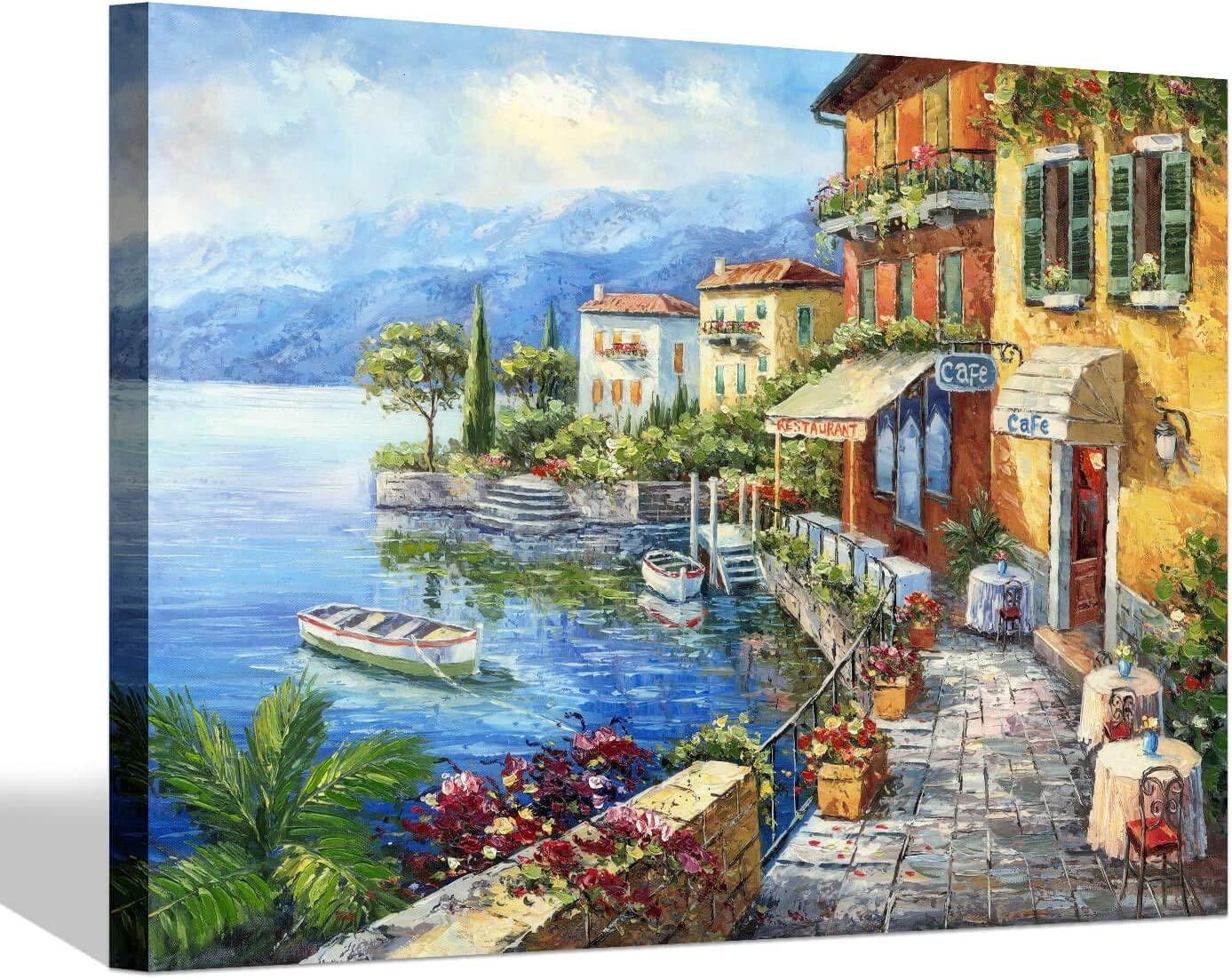 Mediterranean Town Painting Canvas Picture - Coastal City Artwork Wall Art Reproduction for Living Room (24'' x 18'' x 1 Panel)